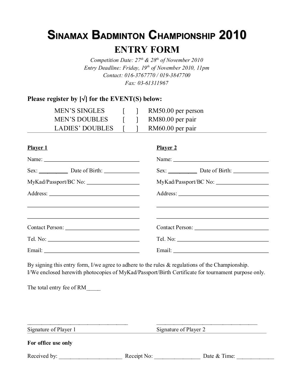 Document preview Sinamax Badminton Championship 2010 form.pdf - page 3/4