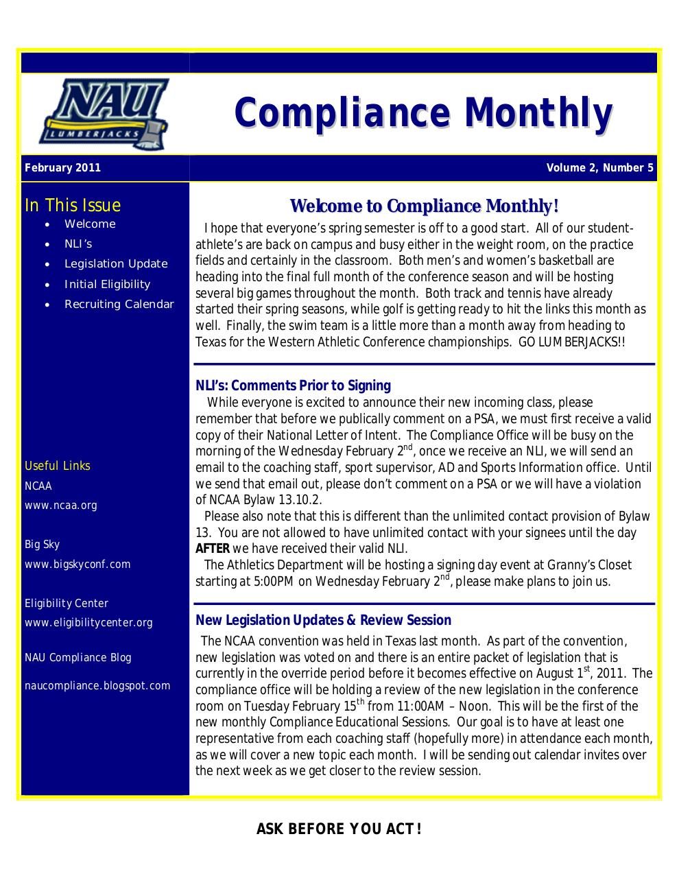 Document preview Compliance Monthly_February2011.pdf - page 1/2
