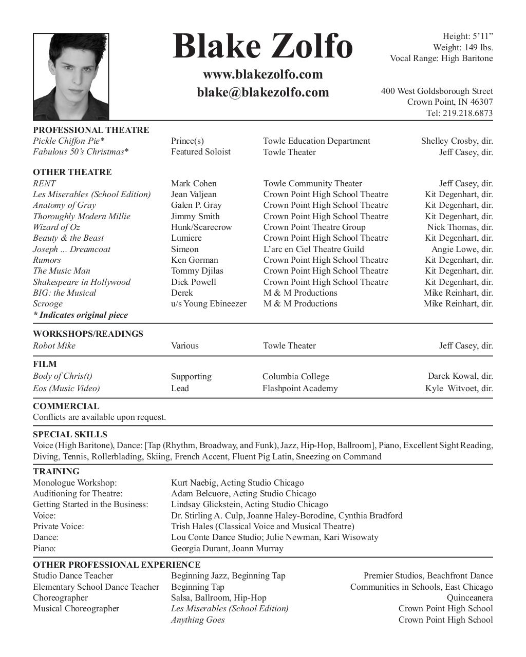 blake zolfo theatrical resume