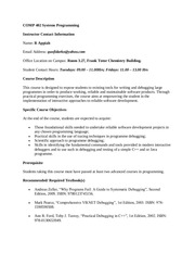 comp 402 systems programming course outline
