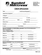 symbol mattress credit application