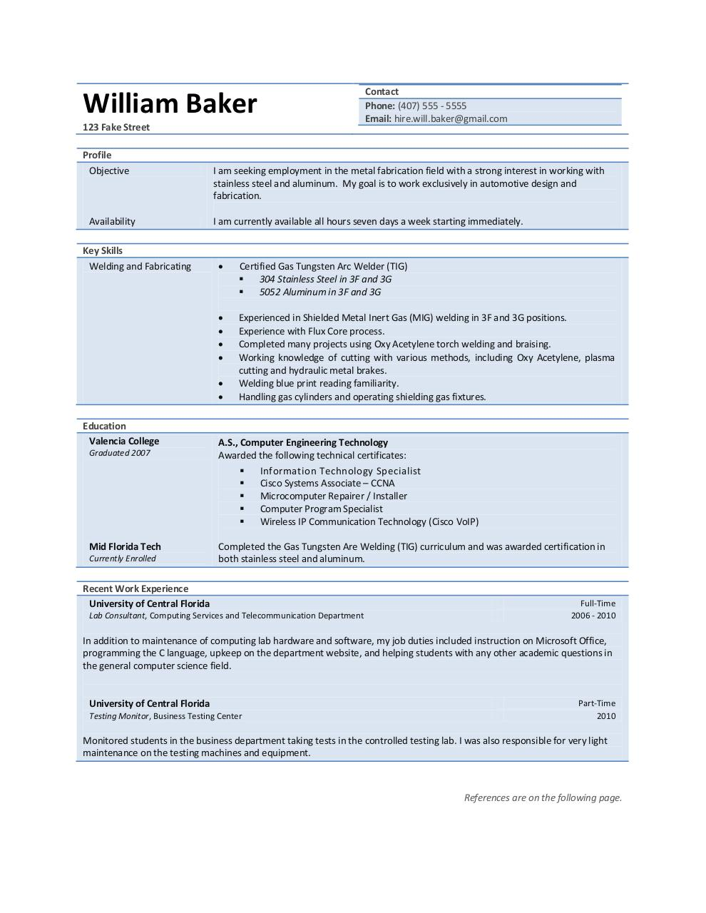william baker welding resume by will