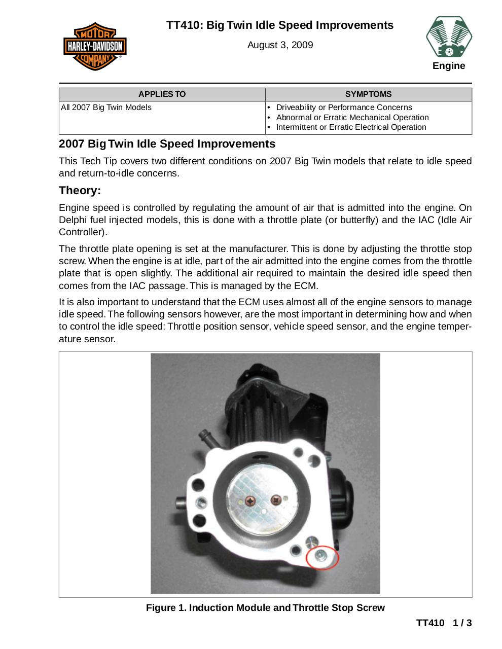 TT410: Big Twin Idle Speed Improvements by Dept 625 Service