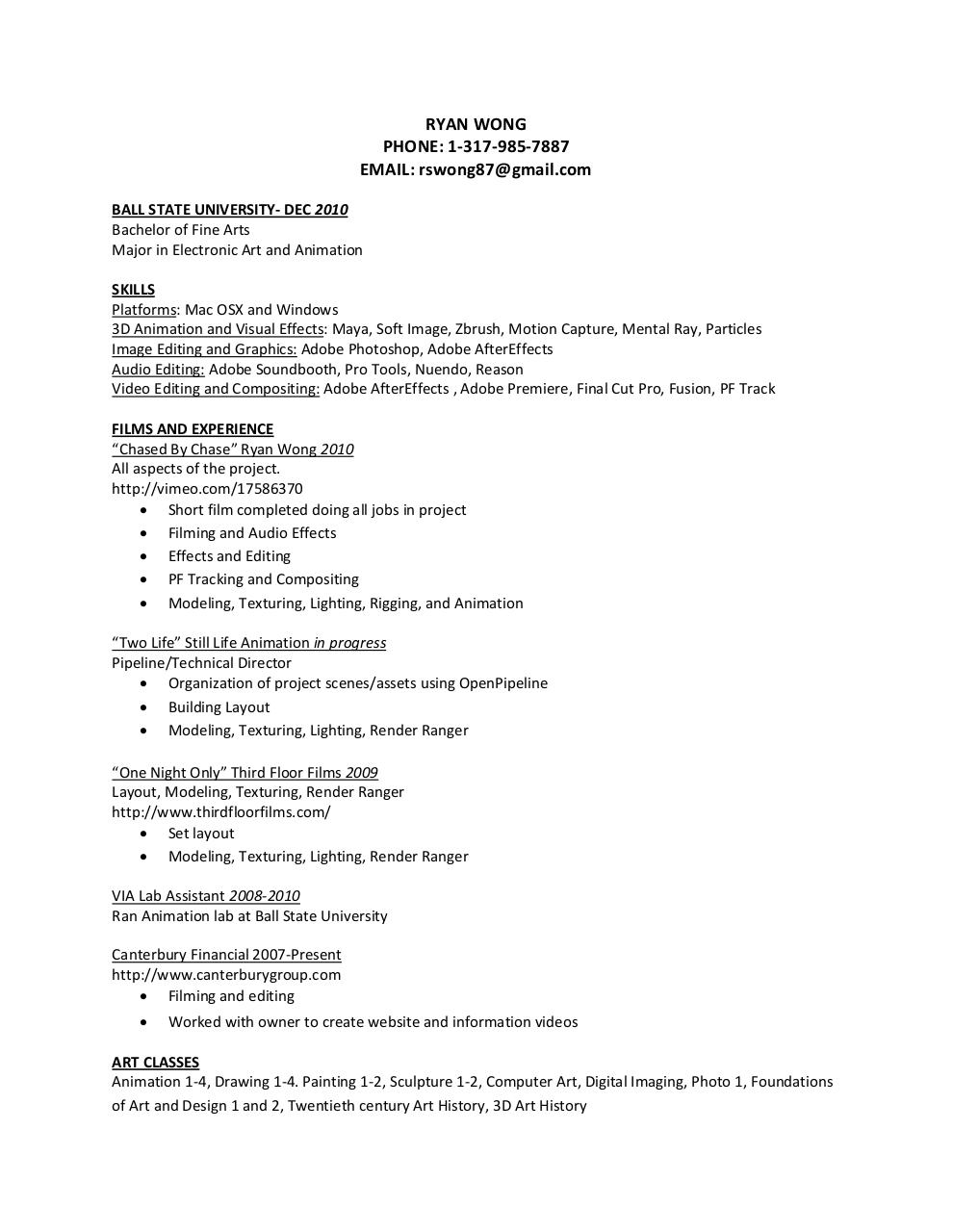 Visual Artist Resume 2