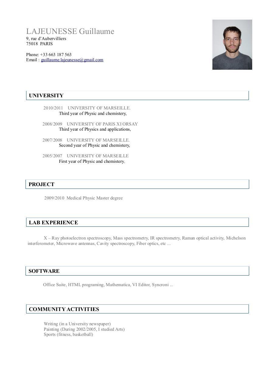 curriculum vitae english internship