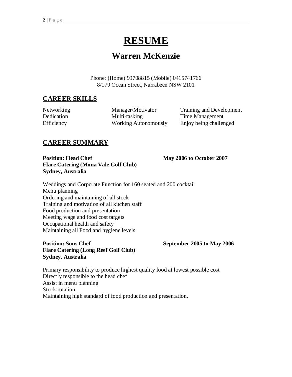 Document preview Warren resume 1.pdf - page 2/4