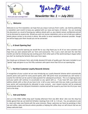 yarnfest news letter no 1 july 2011