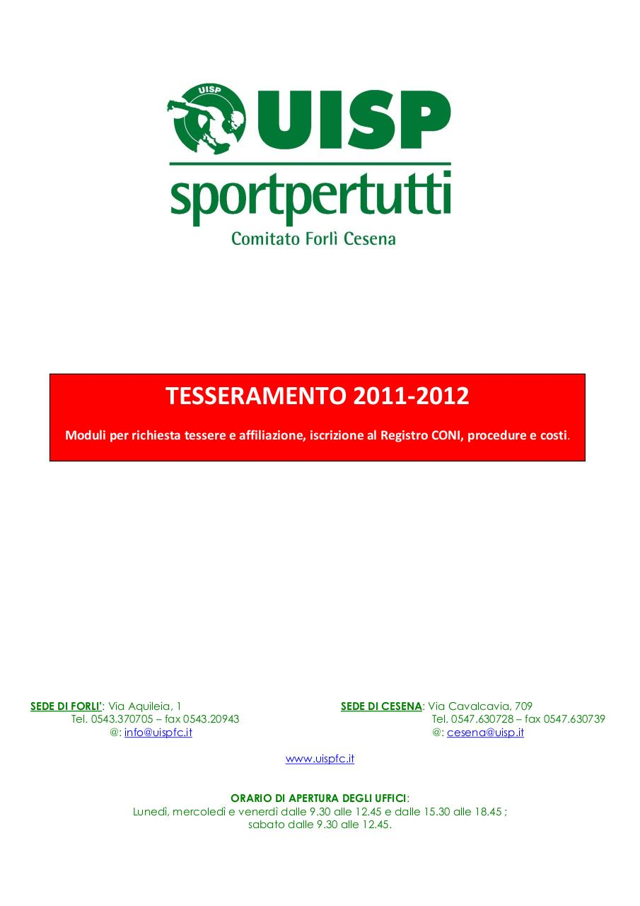 Norme,costi, affiliazione, tessere UISPFC 11 12.pdf - page 1/7