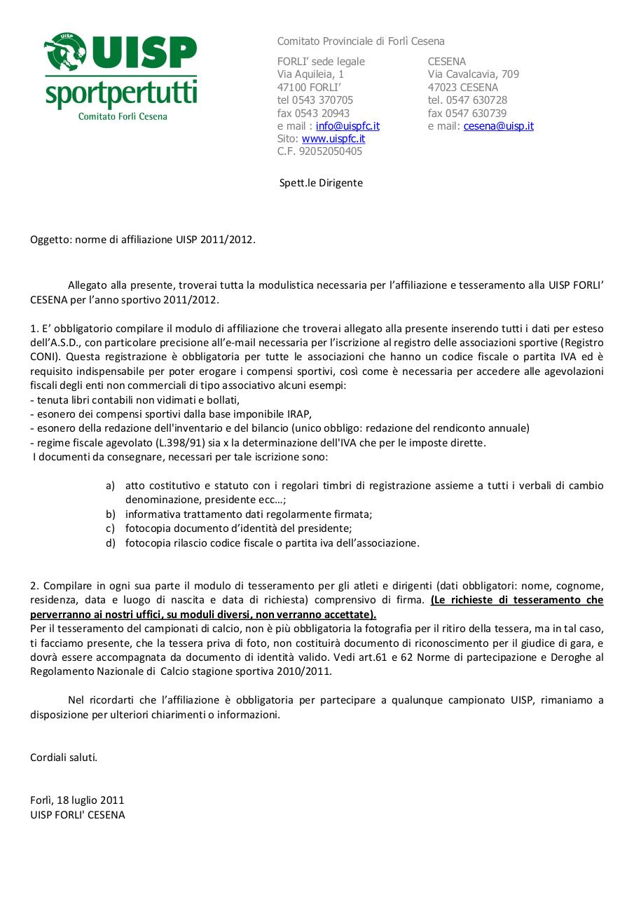 Norme,costi, affiliazione, tessere UISPFC 11 12.pdf - page 2/7