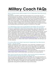 military coach faqs sp
