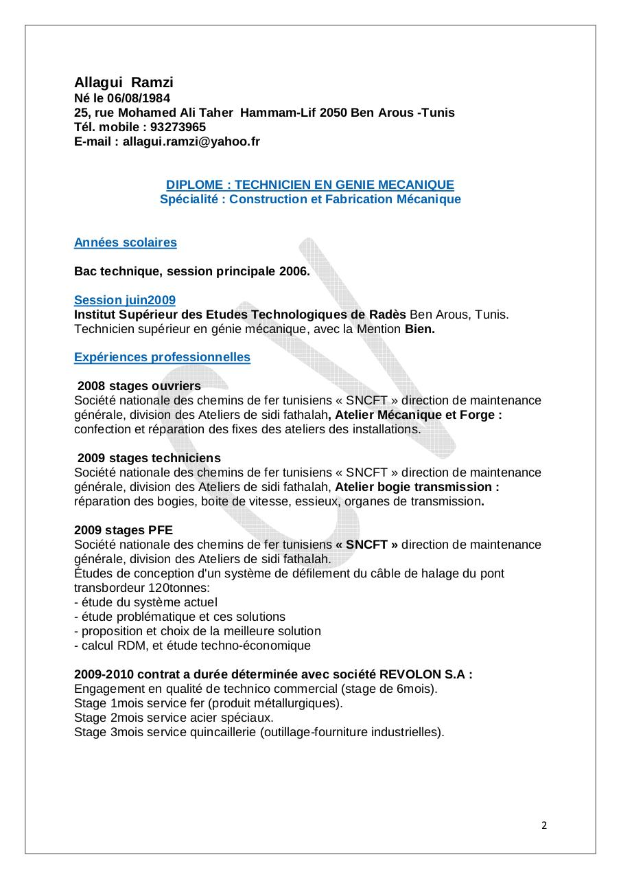 Cv Ramzi Lettre De Motivation By Ramzi Pdf Archive