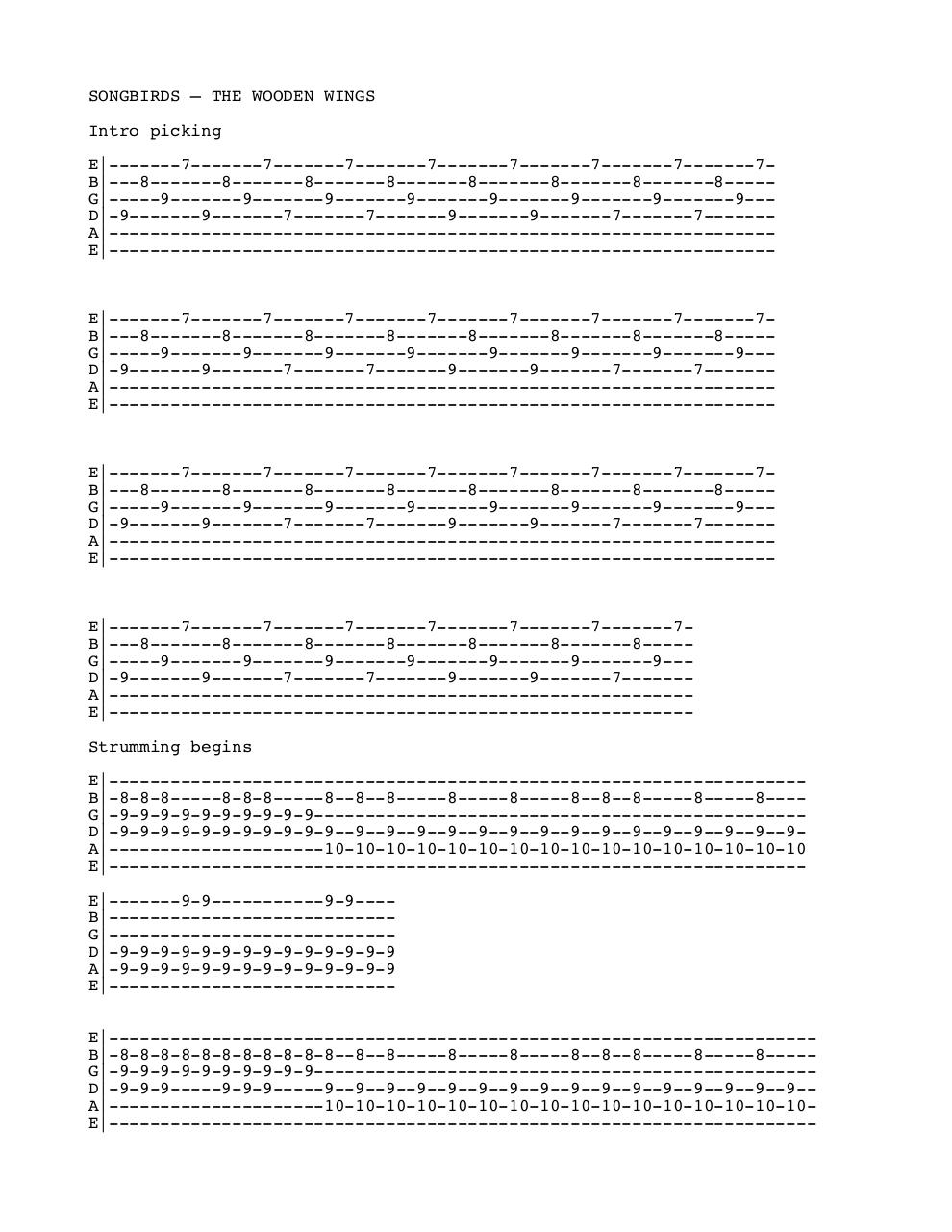 Document preview songbirds tab.pdf - page 1/2
