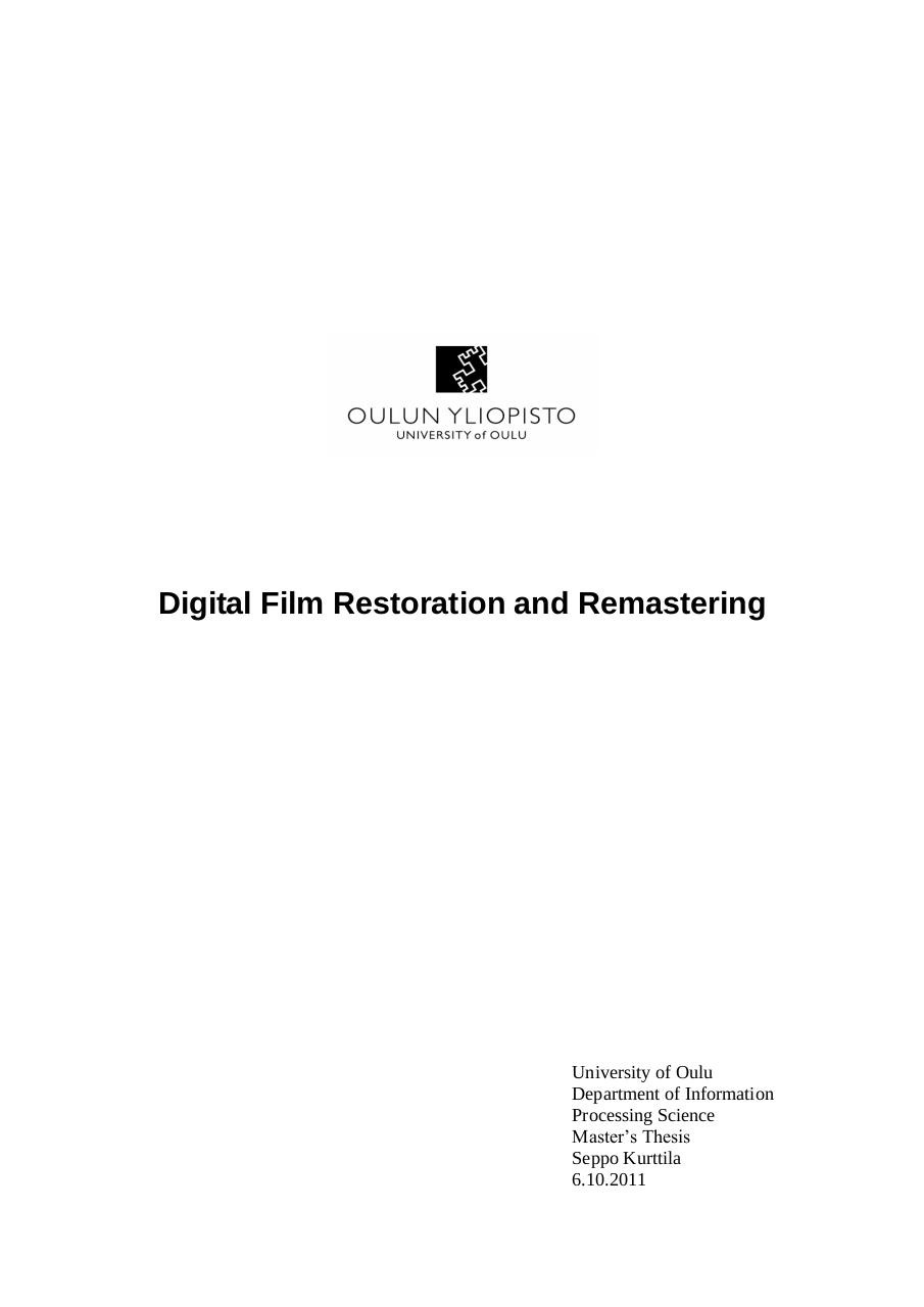 Digital Film Restoration and Remastering.pdf - page 1/72