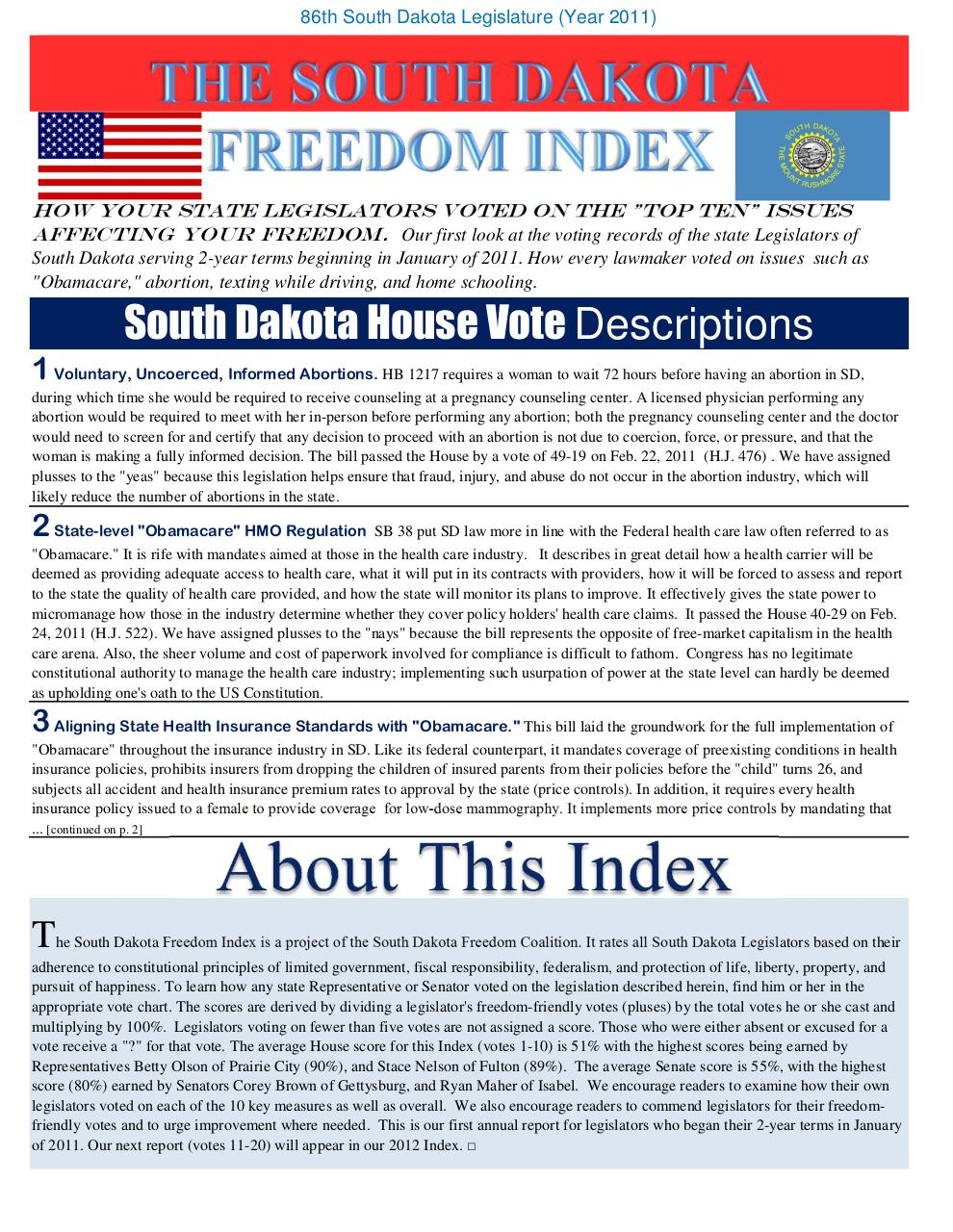 Document preview 2011 Freedom Index South Dakota JBS Final.pdf - page 1/4