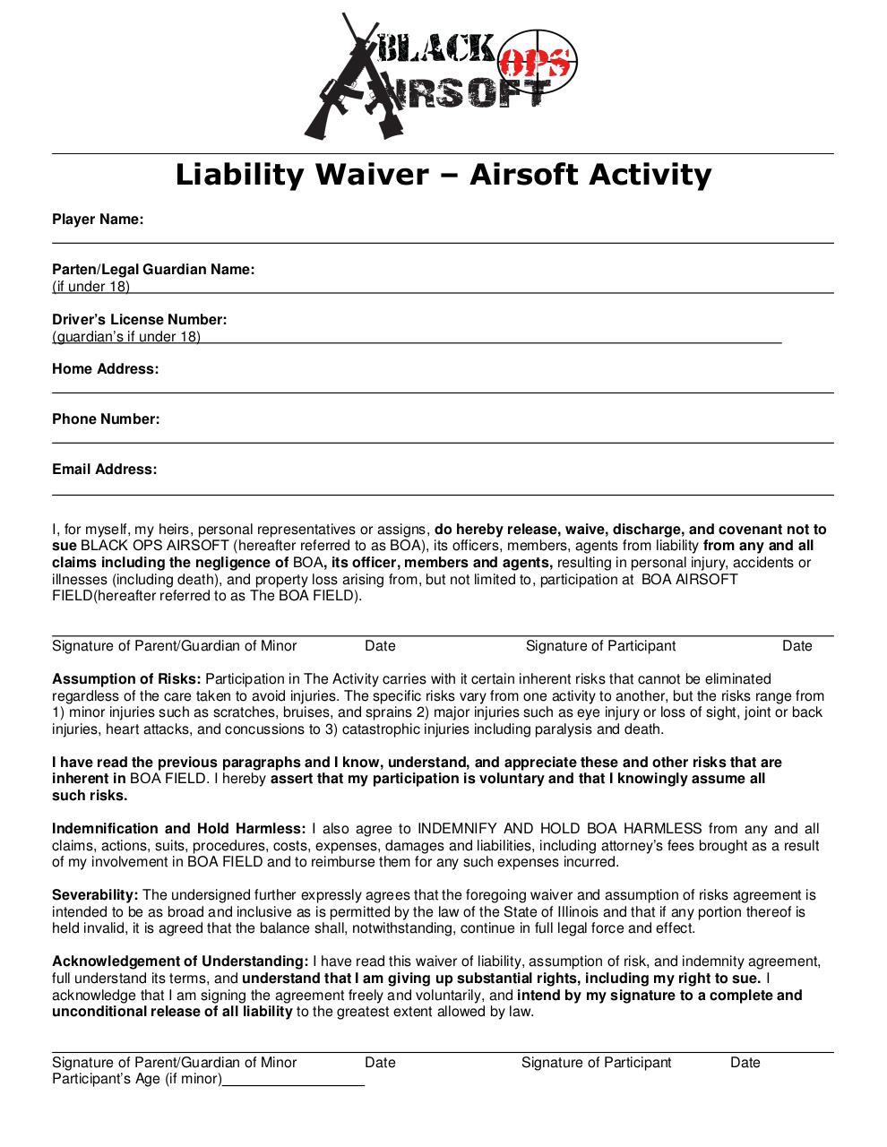 Liability Waiverc Boa Liability Waiver Pdf Pdf Archive