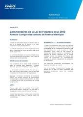 loi de finances 2012 annexe