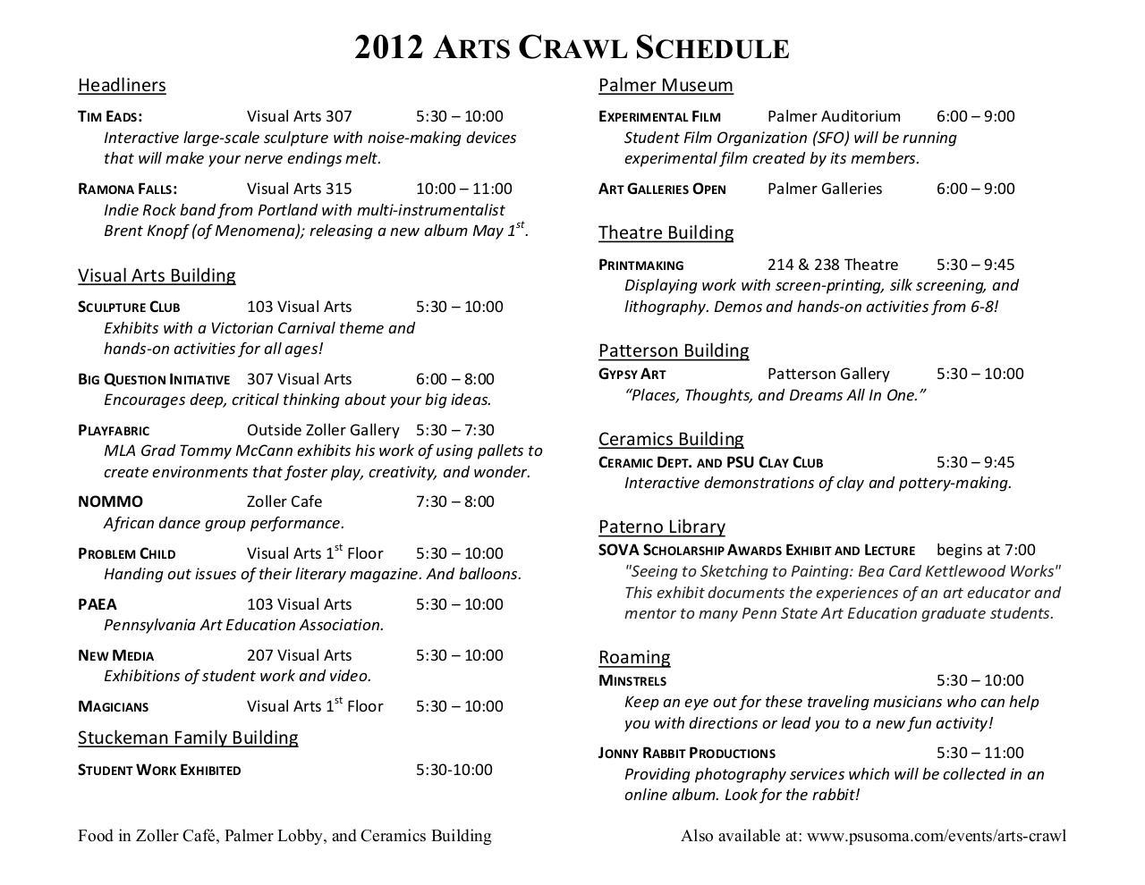 2012 Arts Crawl Schedule.pdf - page 1/2