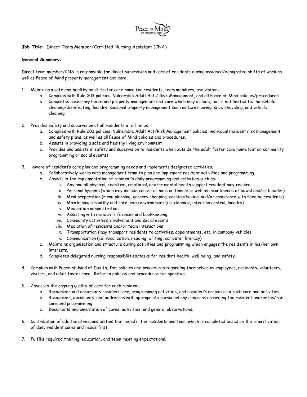 DIRECT TEAM MEMBER AND CNA JOB DESCRIPTION 2012 By Dan