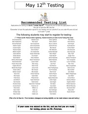 testing recommended list may 2012