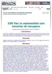 230 vac in automobile con inverter di recupero