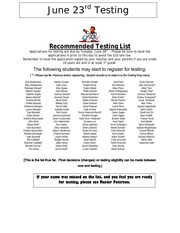 testing recommended list june 2012