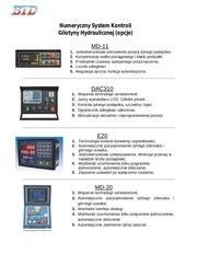 numeryczny system kontroli gilotyny hydraulicznej