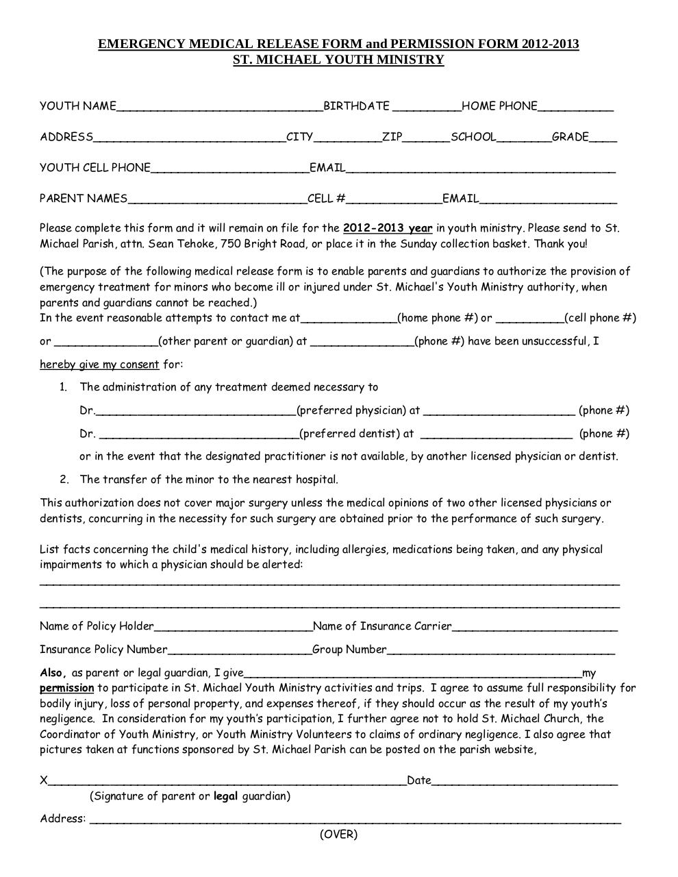 Emergency Medical Form EmformPdf  Pdf Archive