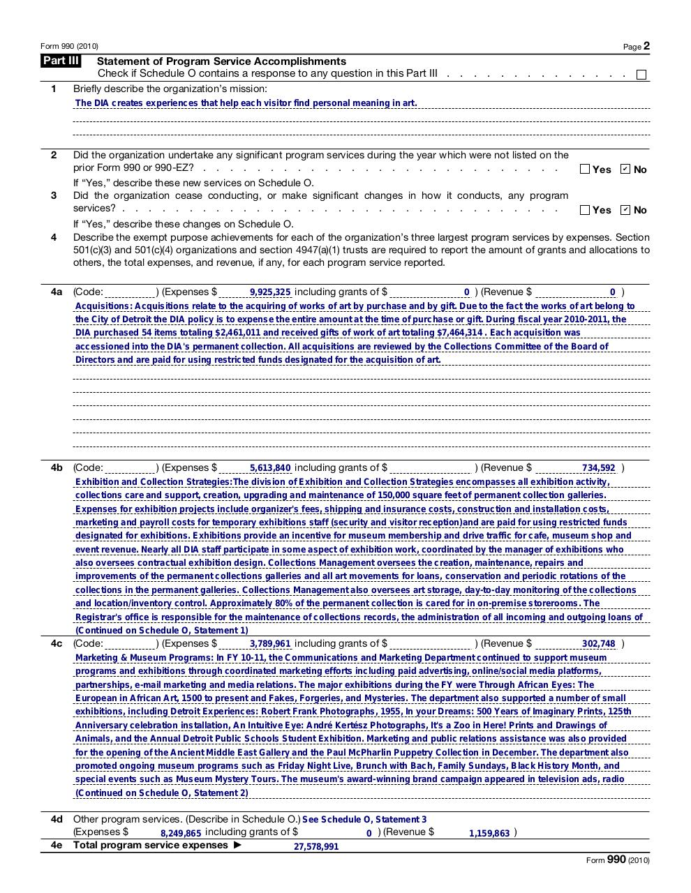 DIA FORM 990 (FILED 2012 FOR 2011) 2010 FORM 990 FY10-11 FINAL.PDF - page 2/48