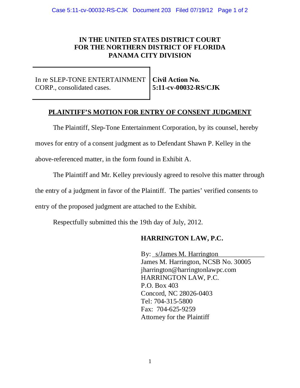 Panama 203 Plaintiff's motion for entry of consent judgment re Shawn P. Kelley.pdf - page 1/2