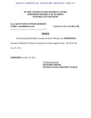 PDF Document panama 208 order dismissing all remaining defendants except for kevin shorette for failure to prosecute