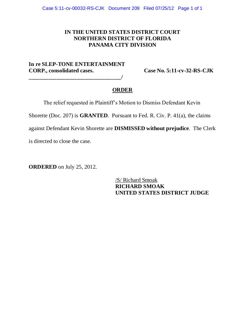 Pdf document panama 209 order granting doc 207 re for Motion to dismiss with prejudice template