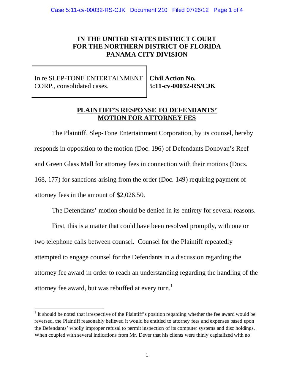 Panama 210 Plaintiff's Response to Defendants' Motion for Attorney Fees re motion to compel sanctions of $2,026.50..pdf - page 1/4