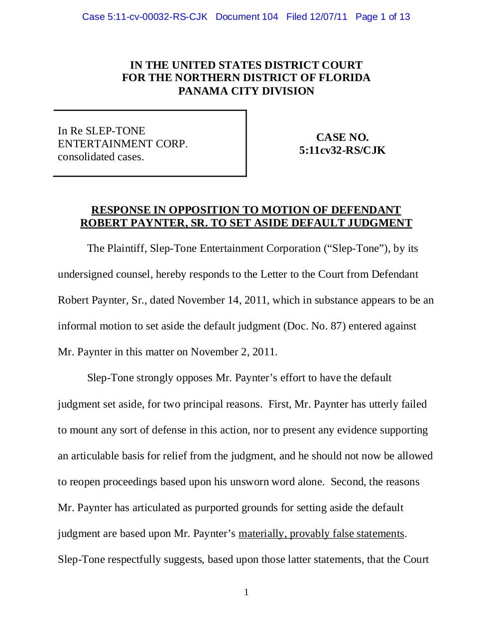 Panama 104 Response to Big Bob's motion to set aside.pdf - page 1/13