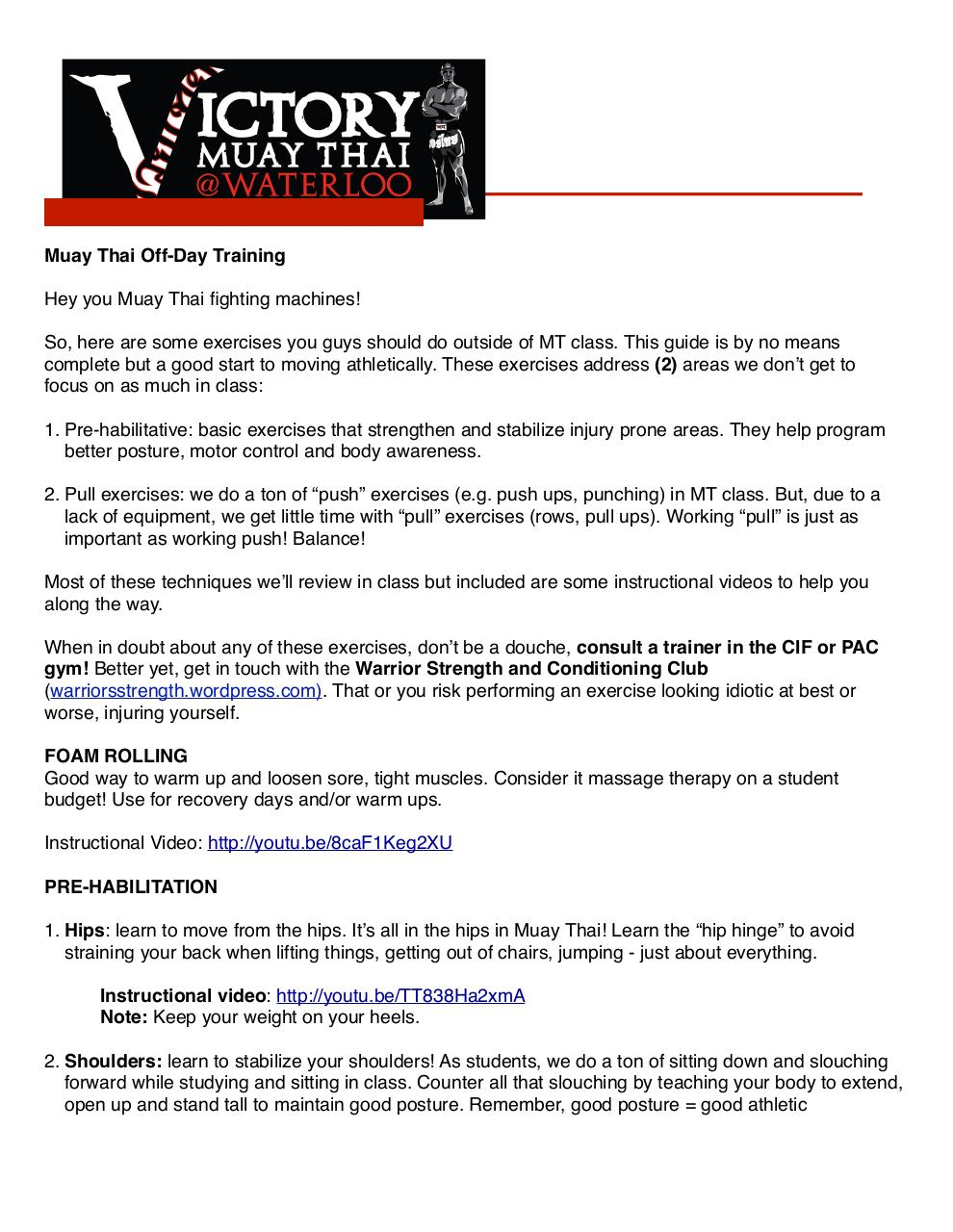 Document preview Muay Thai - Off Day Training Guide.pdf - page 1/2
