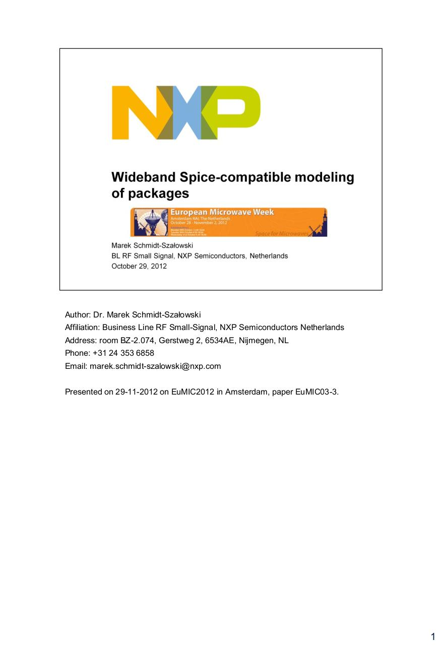 wideband spice-compatible modeling of packages schmidt-szalowski nxp slides with notes.pdf - page 1/24