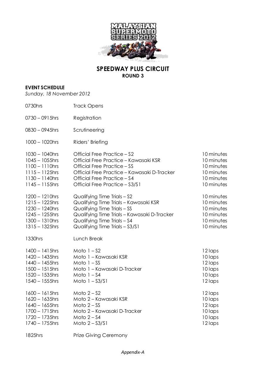 Document preview Malaysian Supermoto Series 2012 - Rd3 - Appendix A (Program) - 16 November 2012.pdf - page 1/1