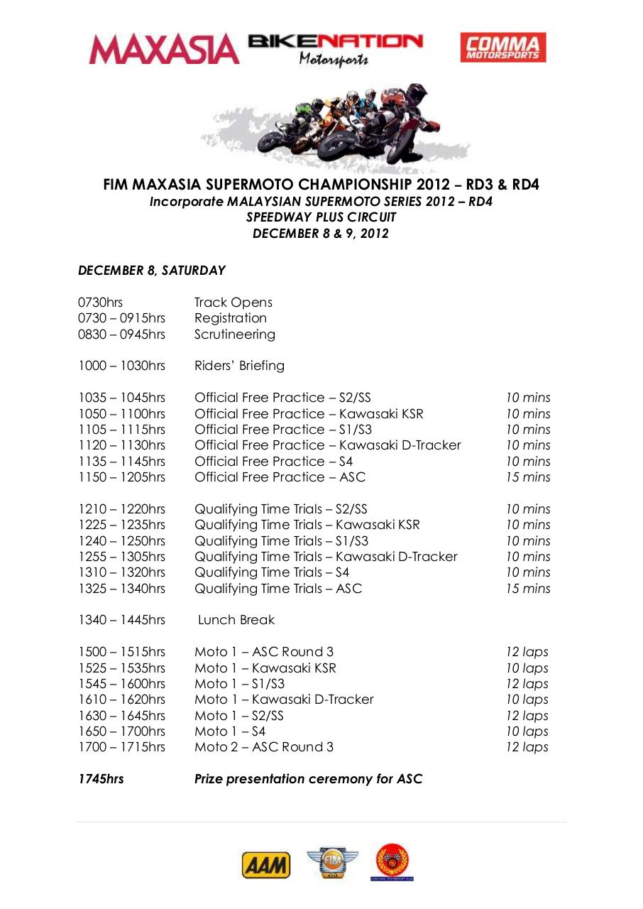 Document preview FIM MAXASIA Supermoto Championship 2012 - Final SUPPLEMENTARY REGULATIONS as of 25 Nov 2012 - Appendix A.pdf - page 1/2