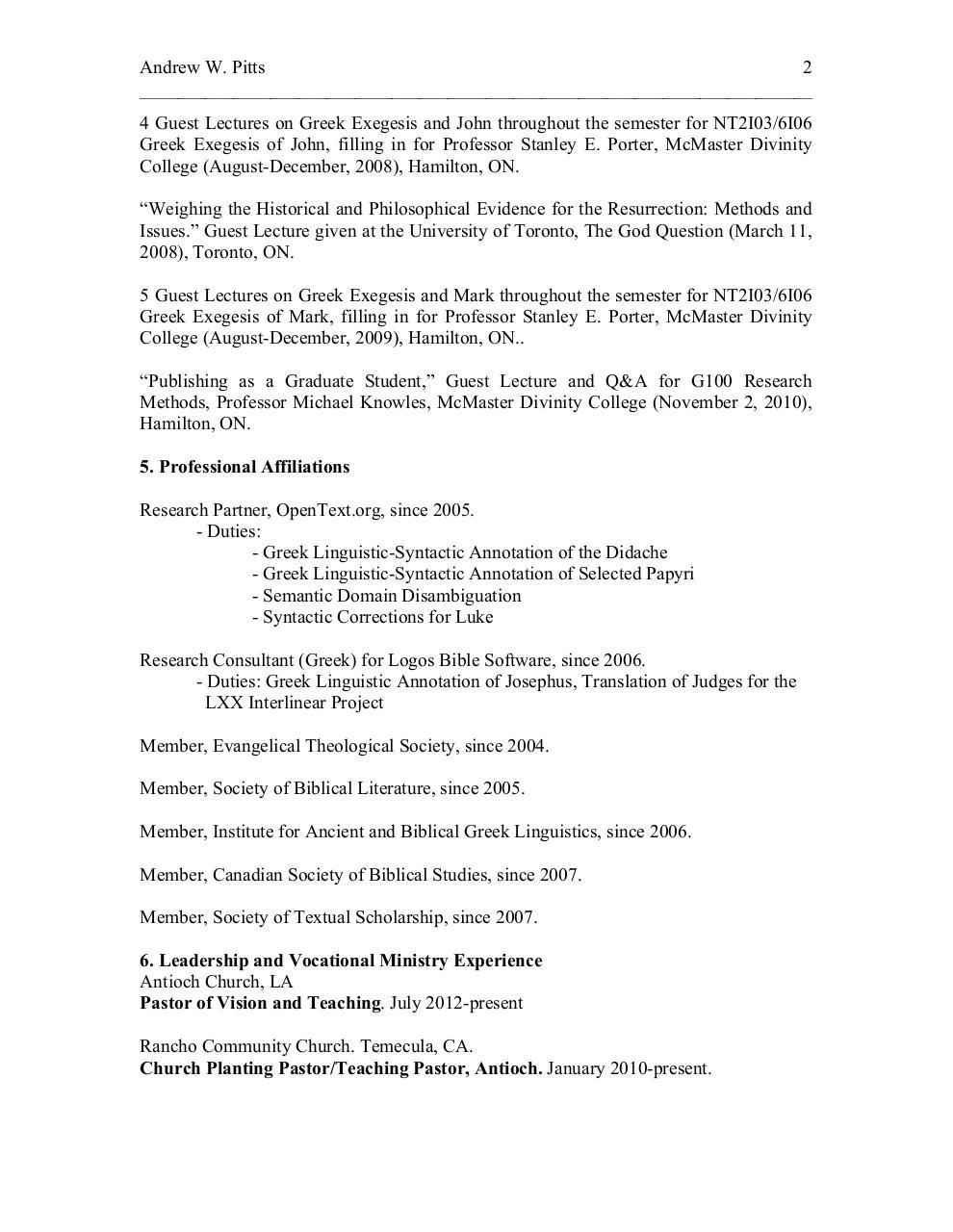 Curriculum Vitae 2012 Doc By Andrew Pitts Curriculum Vitae 2012