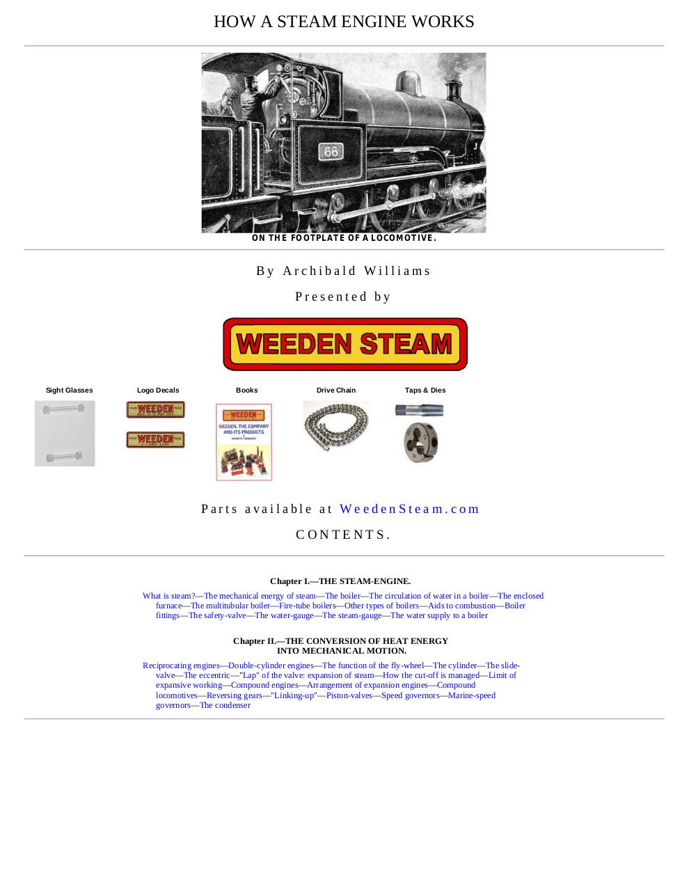 How A Steam Engine Works, by Archibald Williams