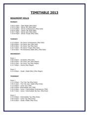timetable 2013 e