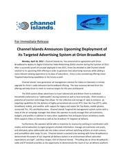 channel islands orion broadband press release