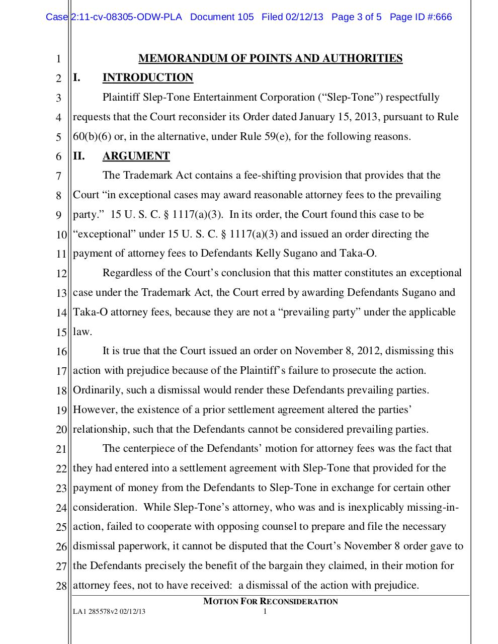 105 - Motion for Reconsidearation (Harrington).pdf - page 3/5