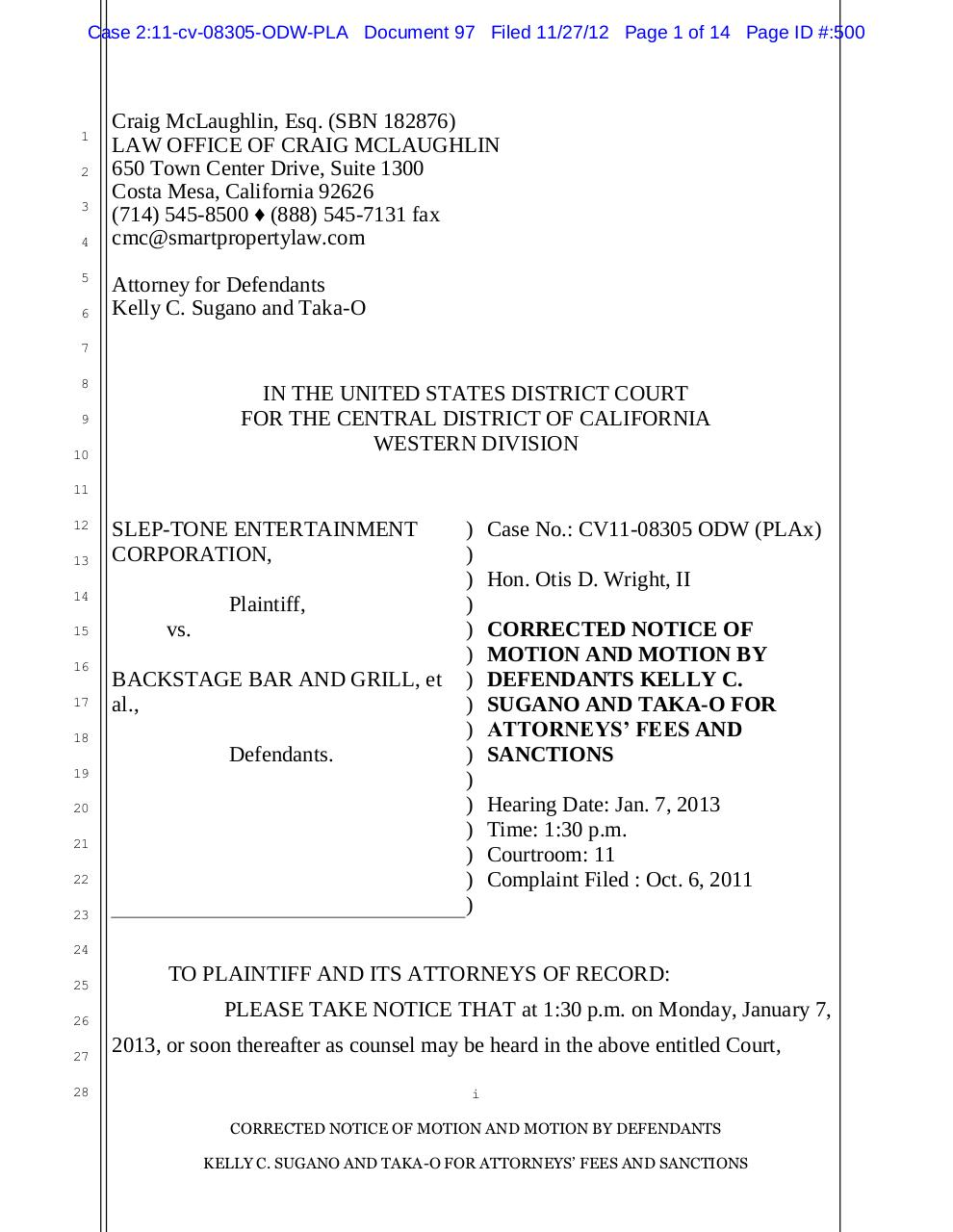 97 - Sugano's Motion for Attorney's Fees and Sanctions.pdf - page 1/14