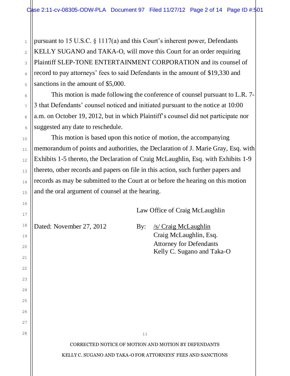 97 - Sugano's Motion for Attorney's Fees and Sanctions.pdf - page 2/14