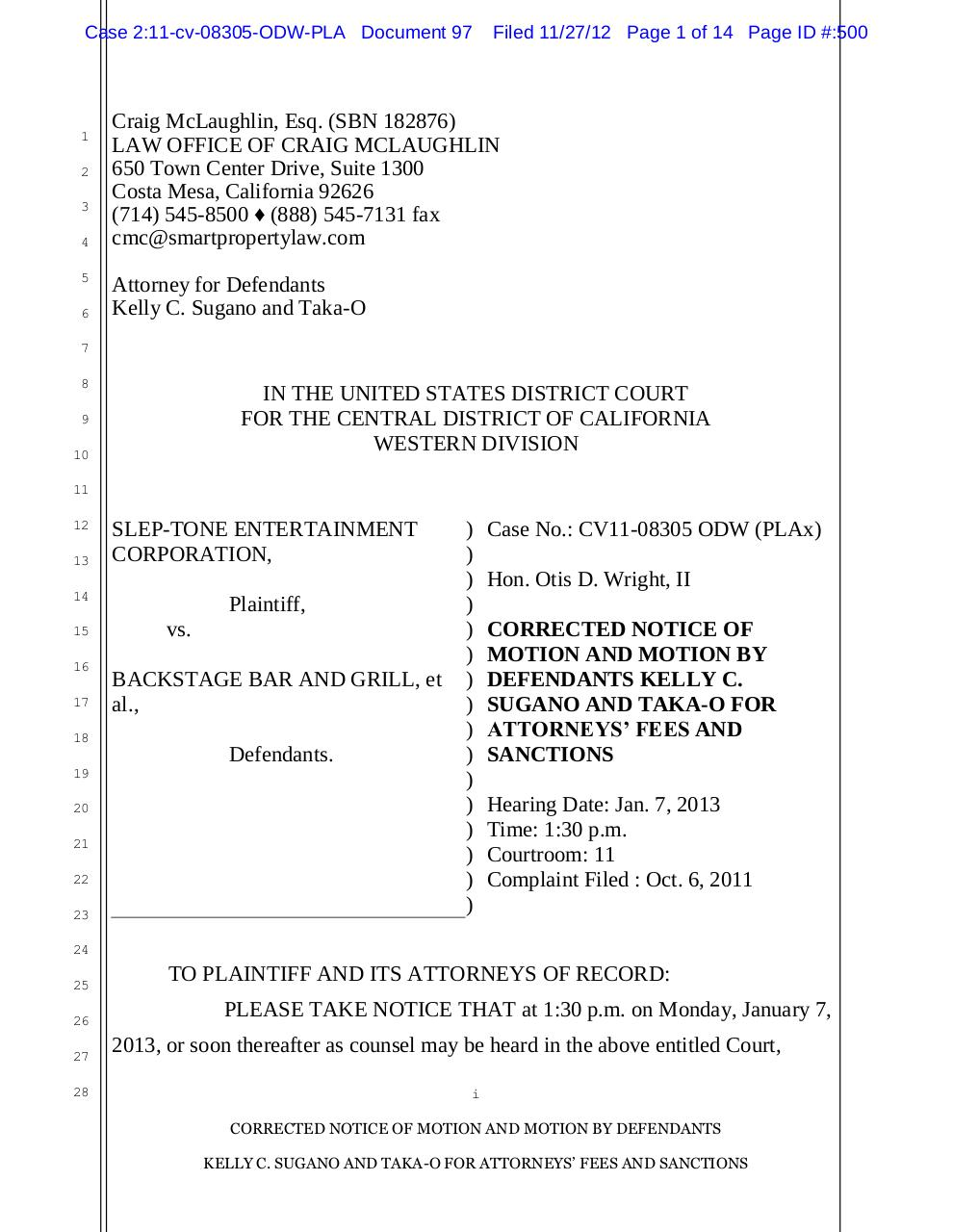 Motion for Attorney's Fees and Sanctions.pdf - page 1/14
