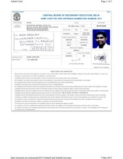 bobby admit card