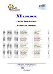 xi mundialito junior calendario fase di qualificazione