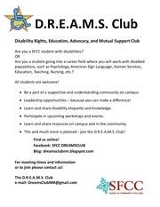 dreams club flyer fall 2013