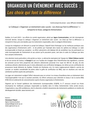 PDF Document communique 2013 vivat categorie alimentation