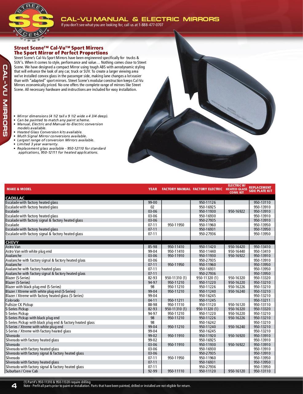 Street Scene 950-14527 Style 13 Street Smart Electric Mirror Kit
